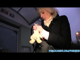 Publicagent amateur blonde masturbates before getting fucked