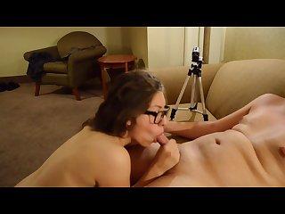 Sexy Nerd latina sucking dick