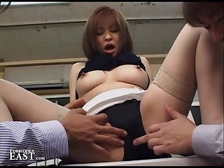 Japanese nylons fetish girl fingered and fucked by two men