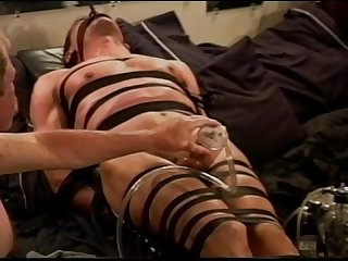 Extreme vacuum pumping cbt on leather bound and restrained muscle guy