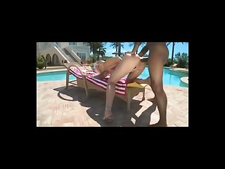 Poolside interracial fucking