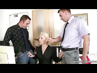 Two co owners bang hot mature lady