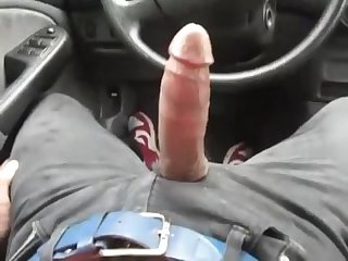 On the edge waiting with a big boner siting in the drives seat
