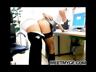 Big tits secretary real blowjob