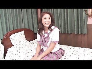 Japanese schoolgirl gets fucked on the bed