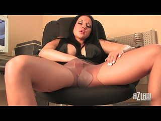 Beauty plays with her pantyhose fingers her pussy and masturbates with toy