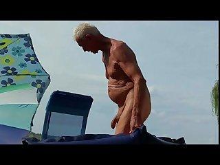 Nudist grandpa at the beach 2