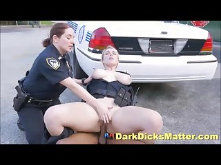 Sex crazed female cops fuck criminal with big black weapon