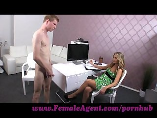 Femaleagent skinny stud meets experienced milf agent
