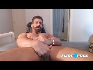 Brett king on flirt4free straight hunk plays with ass and monster cock