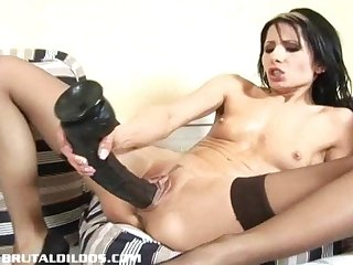 Vicky swallows a brutal dildo with her dripping wet pussy