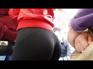 Tight teen ass in spandex leggings on the train