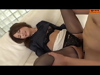 Asian in Black Pantyhose and High Heels