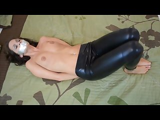 Tapegagged leather leggings masturbation