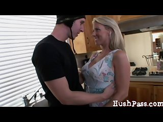 Married mom takes a young guy creampie