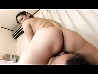 Japanese Stepmom sits on son face and fucking him