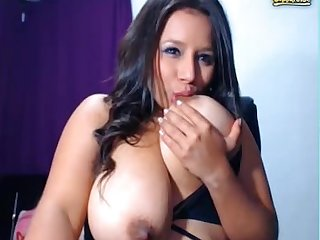 Big boob chick sucking nipples