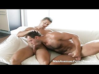 Hot hairy muscular guys suck cock and get ready to fuck on manavenue