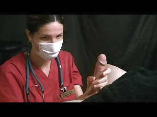 Angry surgical Masked lady nurse gives handjob