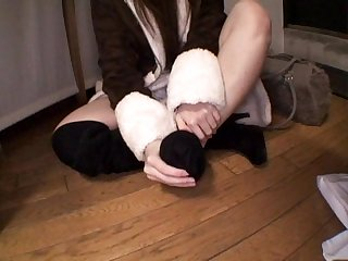 Japan girl self foot worship part 2