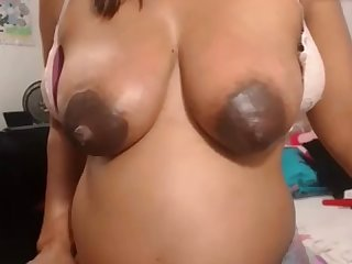 Thick dark Lactating nipples on preg sexy beauty