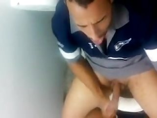 Fine dude caught exploding cum in the bathroom
