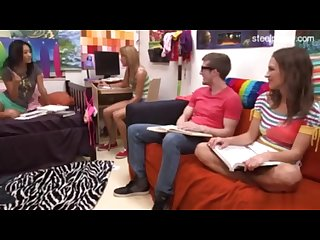 Three girls discuss sex education and erections guy gets a boner fffm