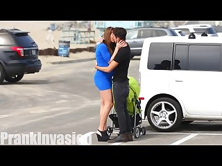 Prankinvasion kissing prank pregnant edition