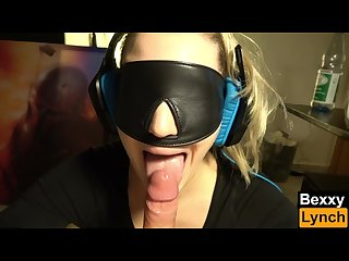 Headphones blowjob with blindfold and cum swallow