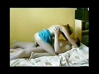 Super hot blonde girlfriend riding her boyfriend at bed