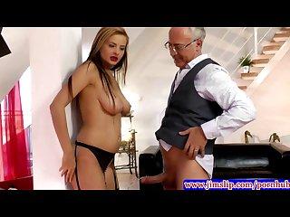 Blonde euro babes anal fun with old man
