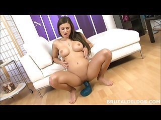Brunette babe with a brutal cobra dildo and big black fucking machine dildo