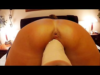 Pov close up of wife stretching herself around huge dildo machine orgasms
