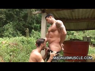 Junior pavanello and yuri bryan muscular army men outdoor anal fucking