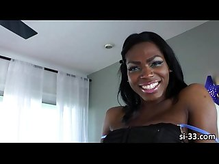 Chocolate skinned tranny vixen coxx shows her sweet blowjob skills
