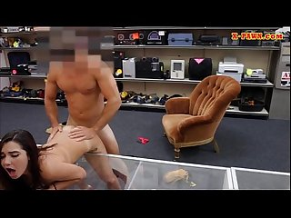 Sexy amateur college girl nailed at the pawnshop for money