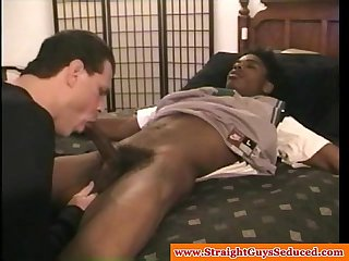 Straight seduced black dude first gay bj