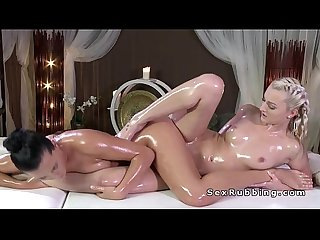 Lesbian masseuse tribbing blonde in oil