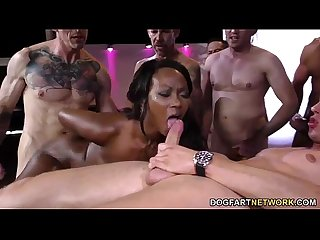Ebony skyler nicole enjoys anal sex and gangbang