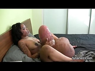Kinky nymphos penetrate the biggest strapons and spray semen all around the place