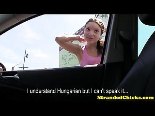 Hungarian hitchhiking teens outdoor pov fuck