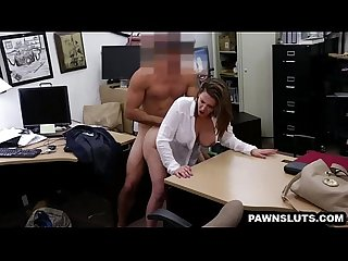 Big tit brunette babe getting fucked at the pawn shop