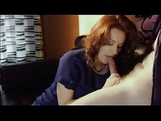 Gorgeous milf swallowing his hot load of cum