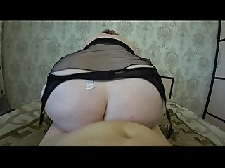 Thick milf rides on a girlfriend, her big ass shakes, huge tits swing, lesbians..