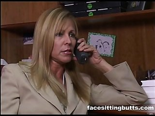 Mature secretary fucks a black guy for the bill