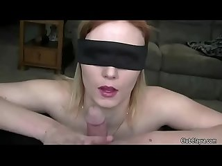 Beautiful wife blindfolded and shared by her husband humiliation old guy hard moans