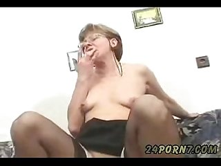 Grandmother masturbating to porn