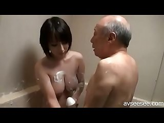 Youporn japanese girl titjob and blowjob for older man in bathroom