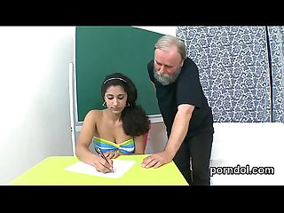Sensual schoolgirl was tempted and fucked by her older lecturer