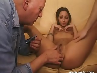 Moroccan pornstar takes on seven guys in domestic gangbang! (Shaina, scene 1)